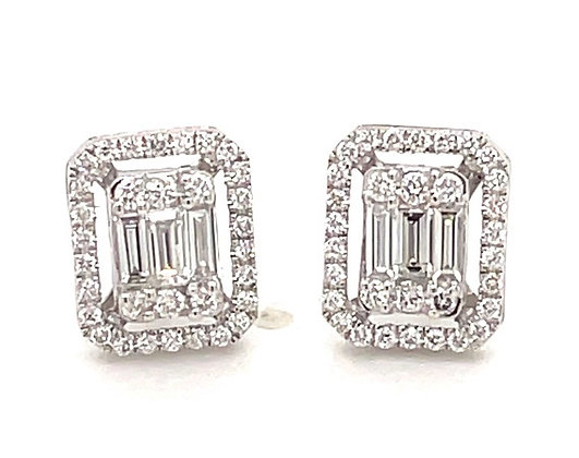 Emerald illusion diamond earrings