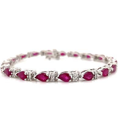 Ruby and diamond bracelet in 14kt white gold