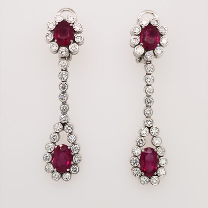 Burma ruby and round diamond earrings