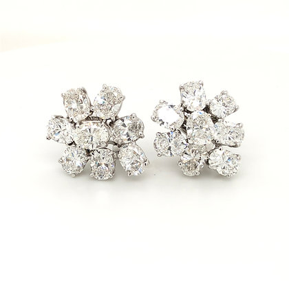 Oval diamond cluster earrings