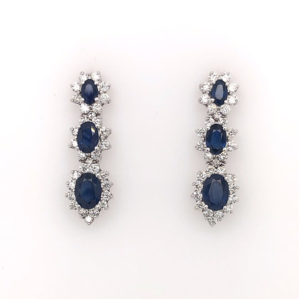 Oval sapphire and diamond dropped earrings
