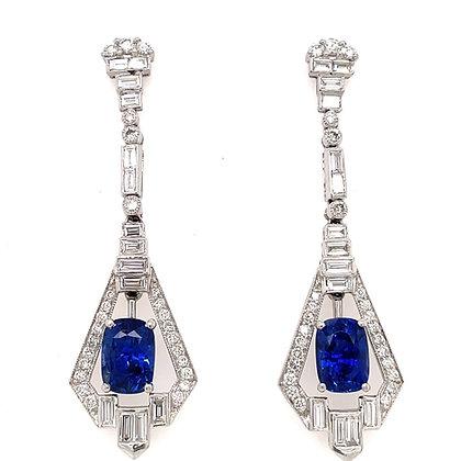 Art Deco inspired ceylon oval cut sapphire and diamond earrings