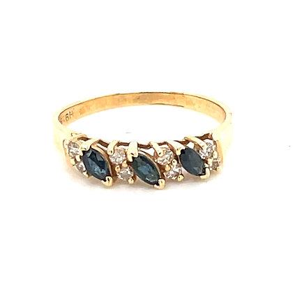 Sapphire and diamond halfway band