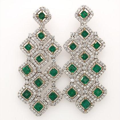 Green emerald and diamond chandelier earrings