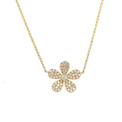 Yellow Gold Pave Diamond Daisy Pendant