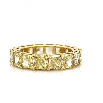 Fancy Yellow radiant cut diamond eternity band