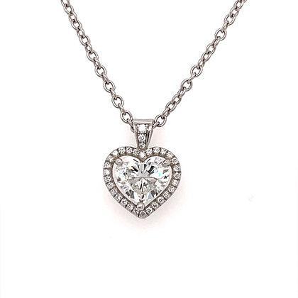 1.50cts heart brilliant diamond pendant with Platinum chain