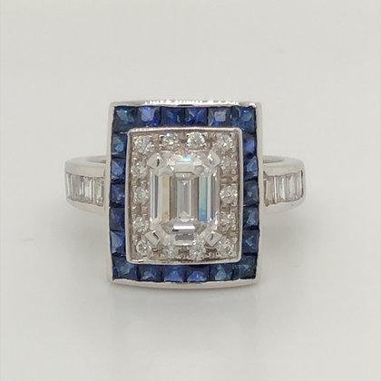 1.26ct emerald cut diamond with sapphire ring