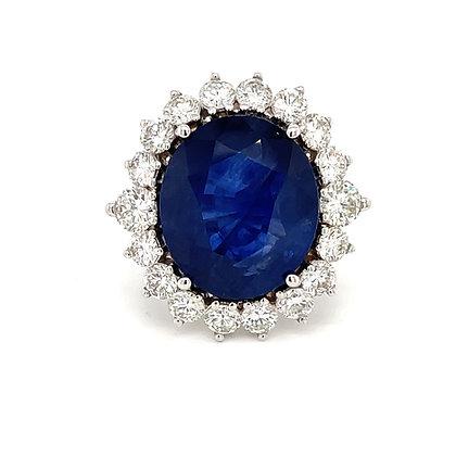 OVAL BLUE SAPPHIRE & DIAMOND HALO LADY DI RING