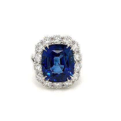 CEYLON CUSHION SAPPHIRE 12.28 CARAT DIAMONDS PLATINUM COCKTAIL RING
