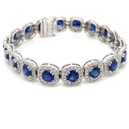 Ceylon cushion cut sapphire and diamond bracelet