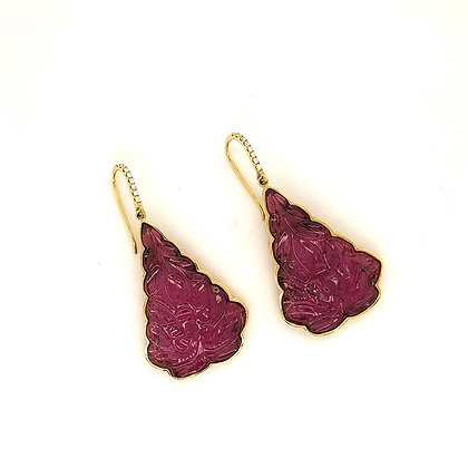 Beautiful Carved pink tourmaline earrings
