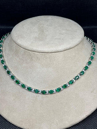 Emerald & Diamond Necklace in 18k White Gold