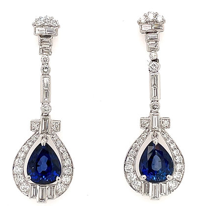 Sapphire and diamond earrings in Platinum