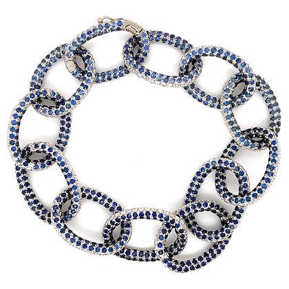 Sapphire and diamond bracelet in 18k white gold