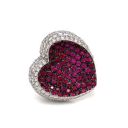 Heart ring with ruby and diamond in 18k white gold