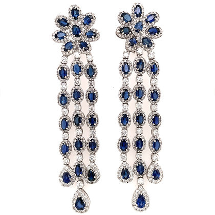 CEYLON PEAR CUT BLUE SAPPHIRES 20.55 CARAT DIAMONDS 18K GOLD EARRINGS