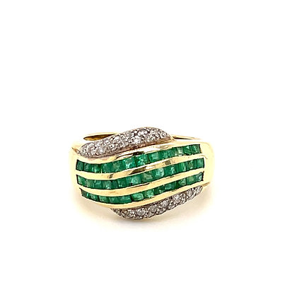 Emerald and diamond ring in 14k y/g