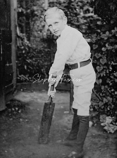 Young Boy Playing Cricket 1910