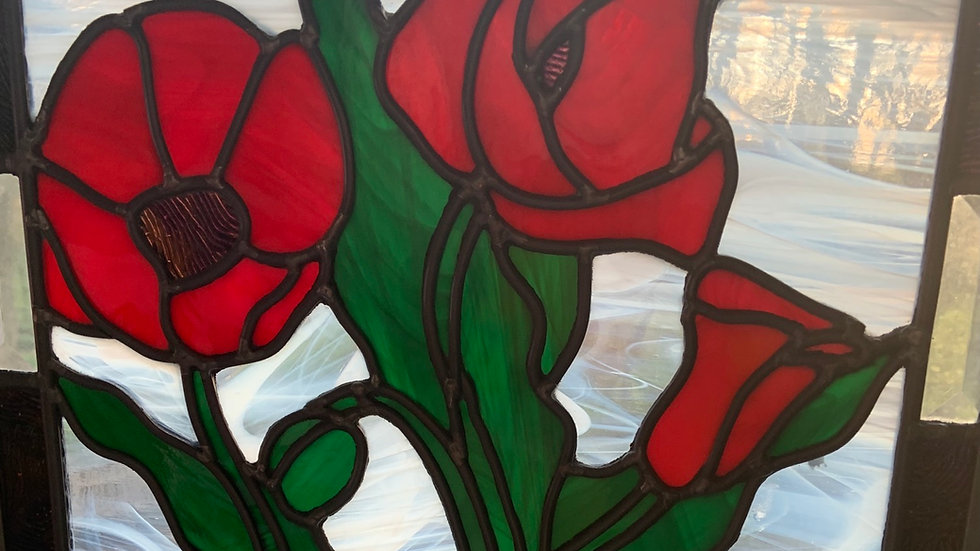 Poppies leaded glass