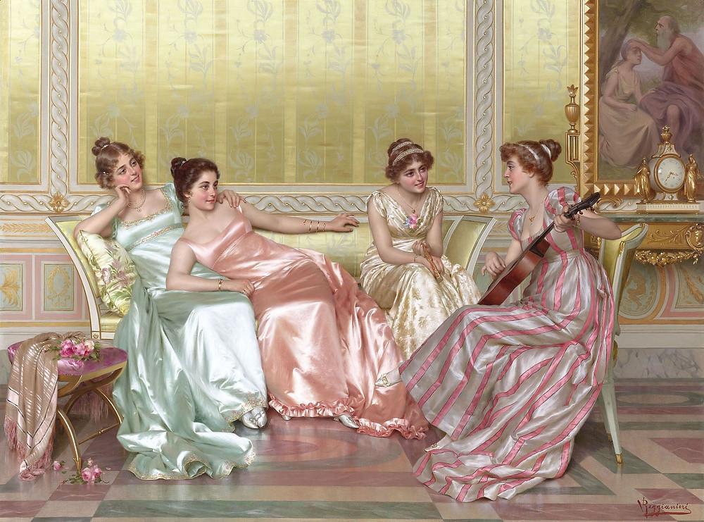 """""""La soirée"""" by Vittorio Reggianini (1858-1938)."""