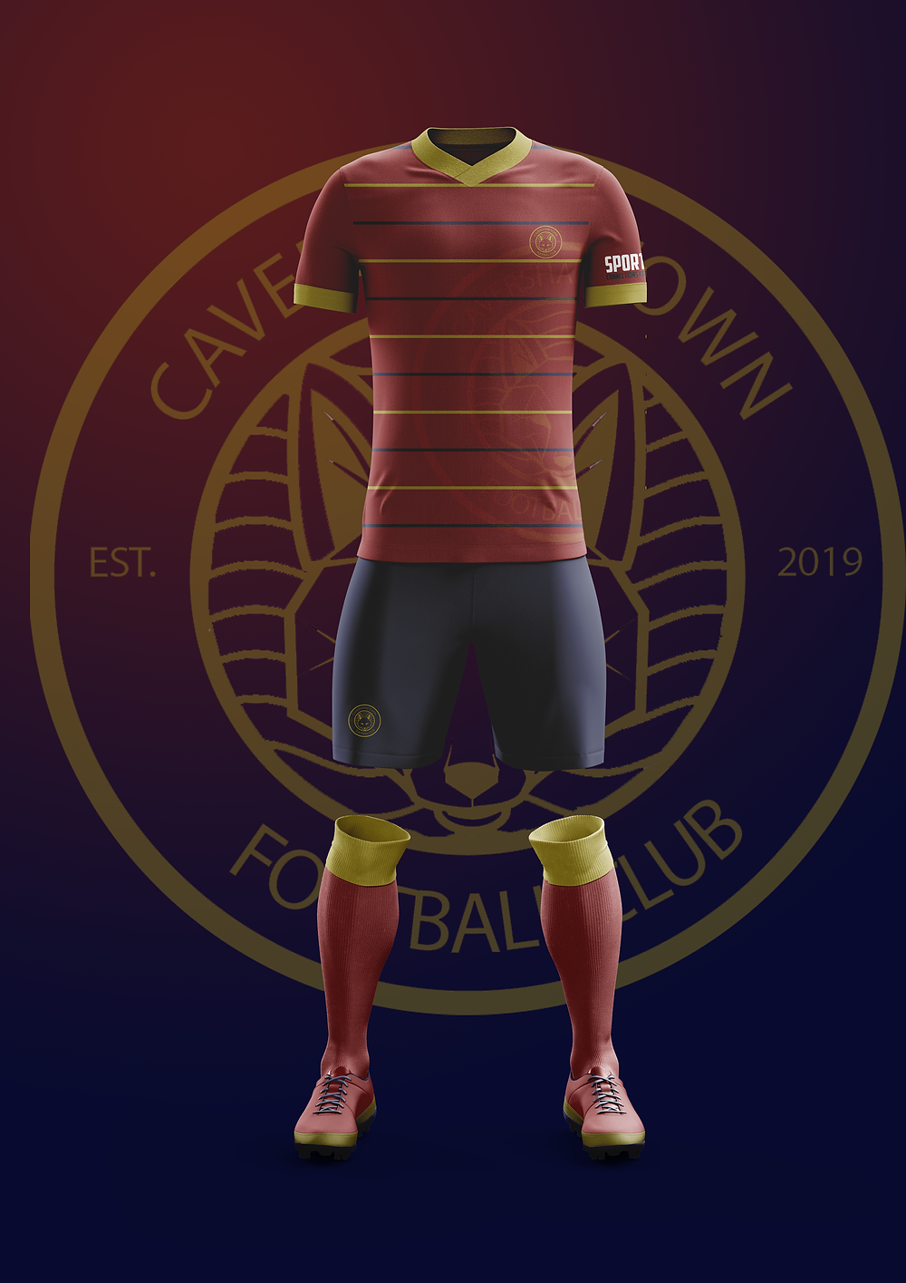 Caversham Town's home kit, designed by Sports Connections Foundation's very own Jackson!