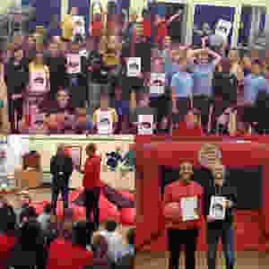 Collage of our ProKick Schools Challenge day at Collingtree including the pupils and teachers meeting one of our Sports Connections Foundation Ambassadors, Craig Mackail-Smith