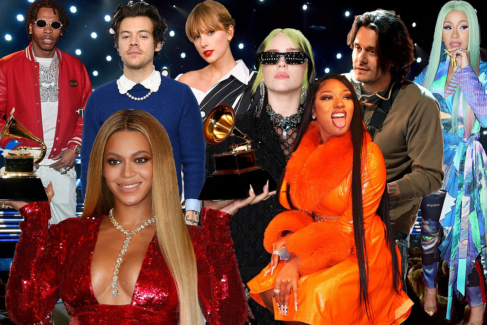 Pictured are prominent artists from the Grammy awards including Beyonce, Harry Styles, Taylor Swift, Meghan Thee Stallion, Cardi B and Billie Eillish