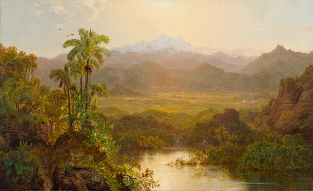 A painting of a tropical landscape with water, mountains, and trees
