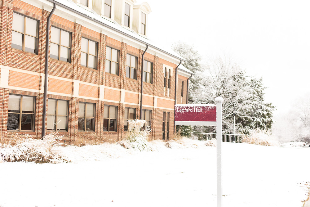 Ledford Hall in the snow