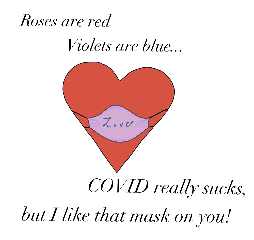 """Image of a heart with a face mask on, with writing: """"Roses are red, violets are blue, COVID really sucks, but I like that mask on you!"""""""