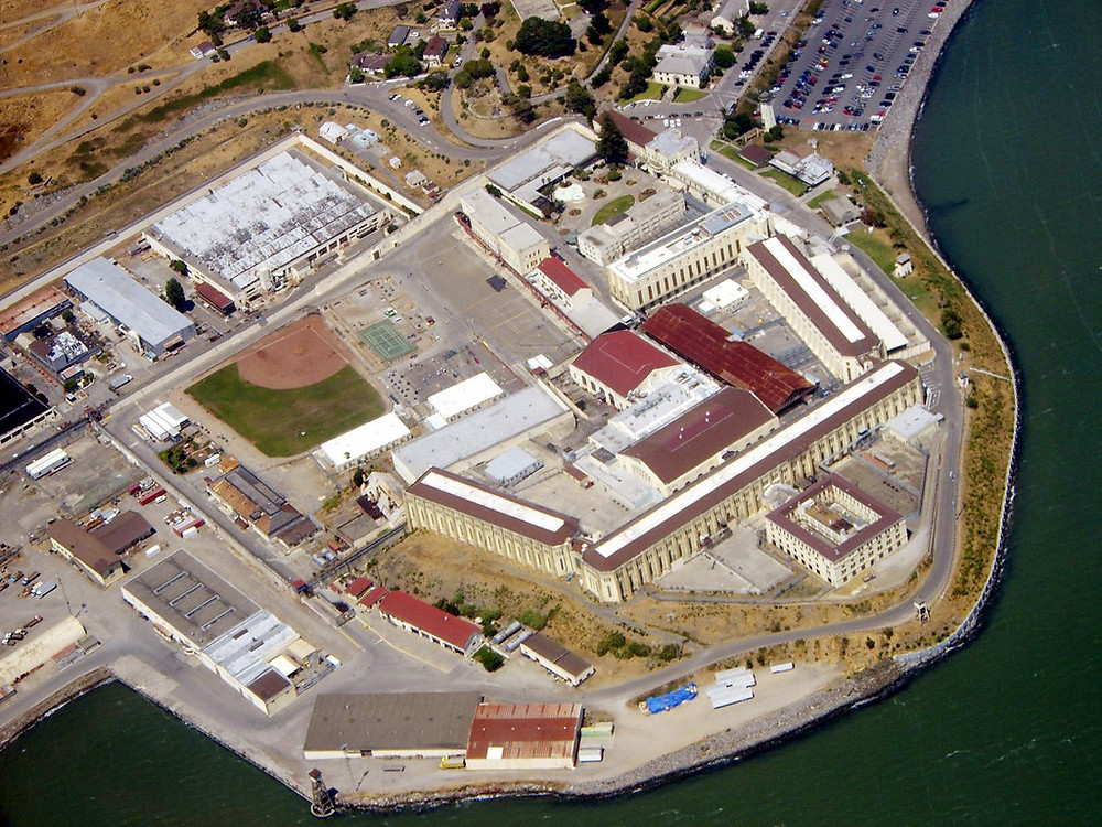 An aerial shot of the San Quentin prison complex