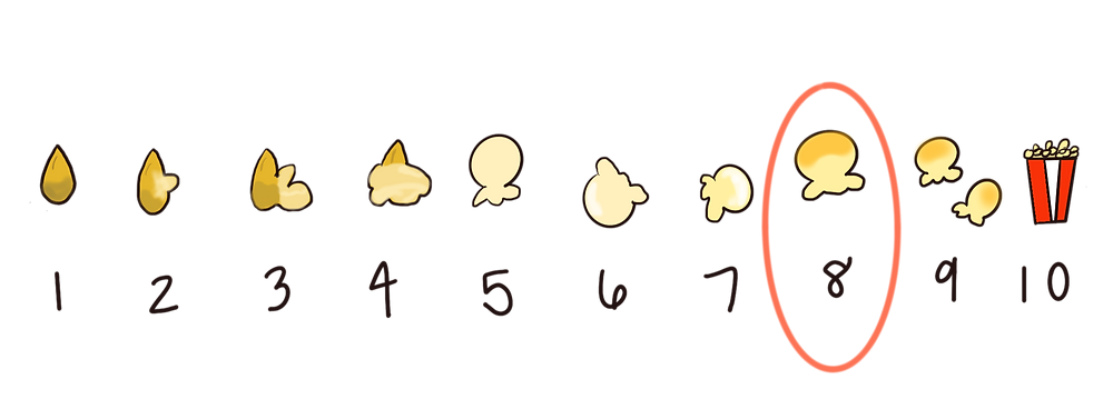 10 popcorn kernels, with the eighth one circled