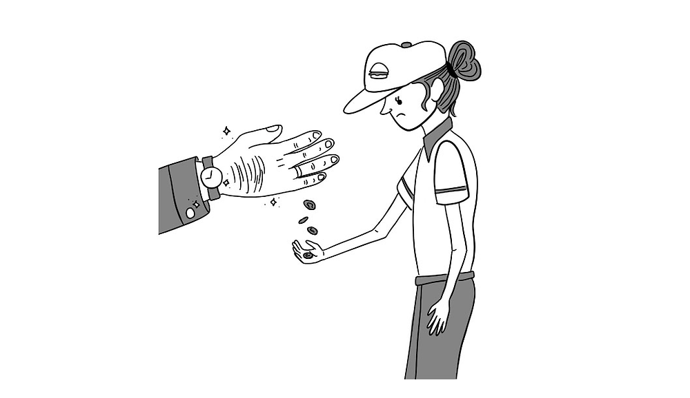A minimum wage worker is given loose change by a large, floating hand