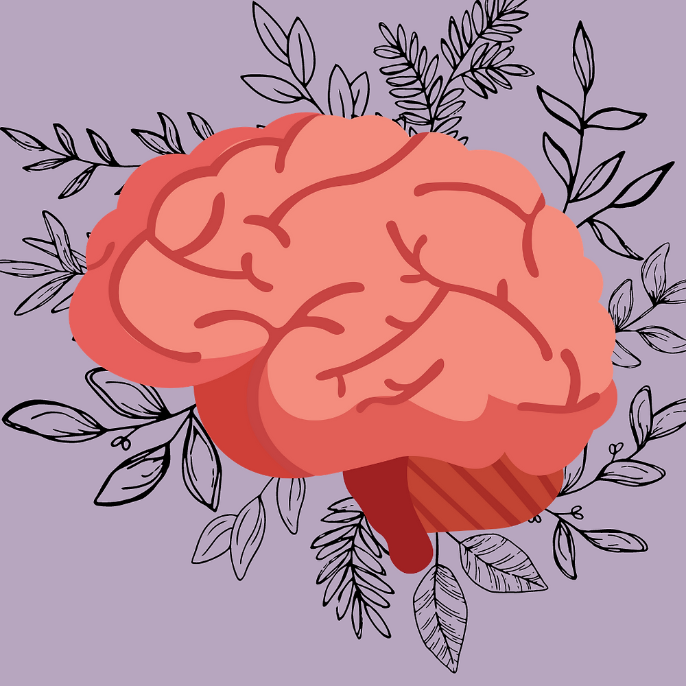A brain with leaves behind it on a purple background
