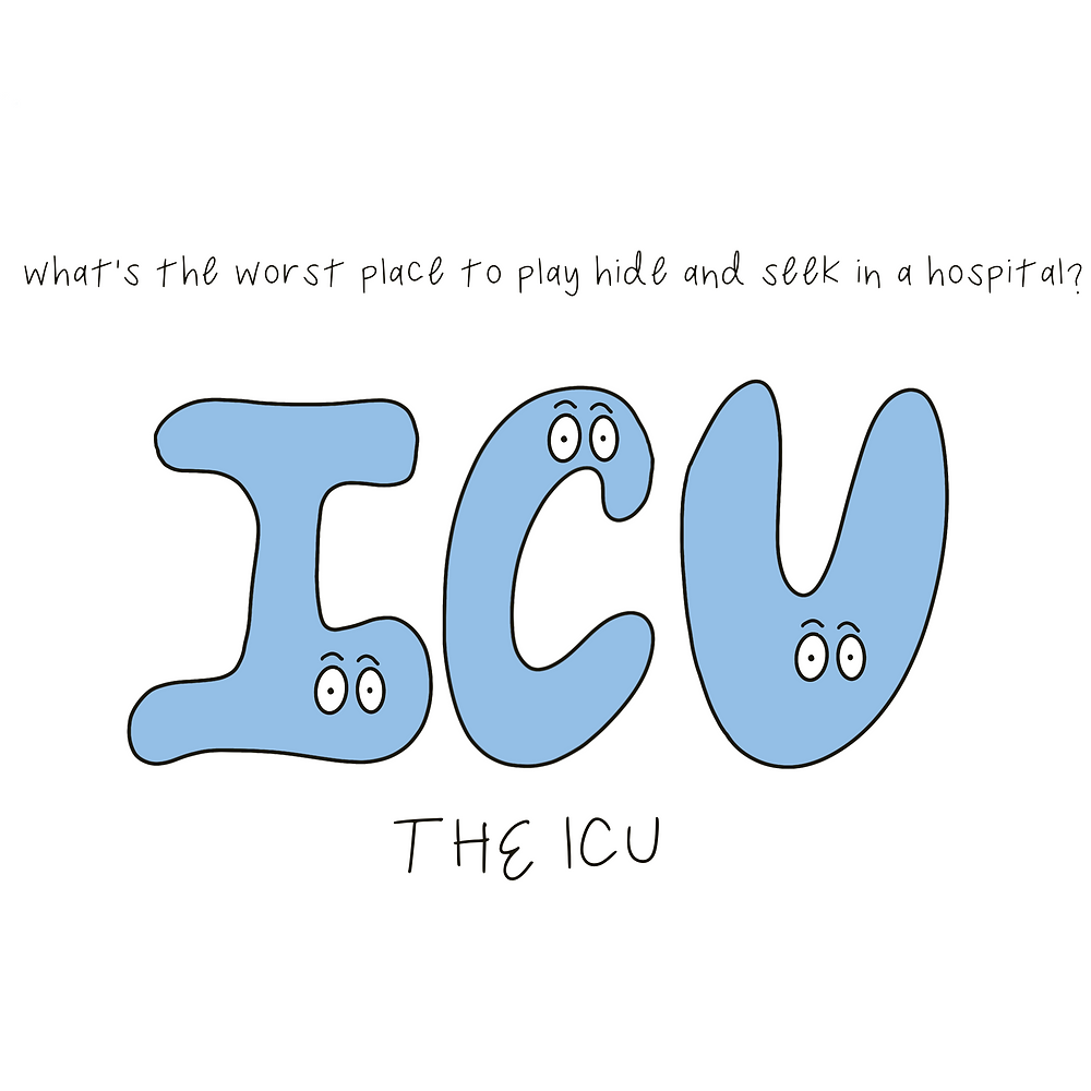 """Drawing of the letters """"ICU"""" with eyeballs on them, with joke: """"what's the worst place to play hide and seek in a hospital? the ICU."""""""