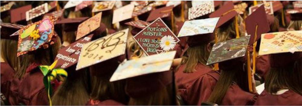 Caps at Meredith College graduation