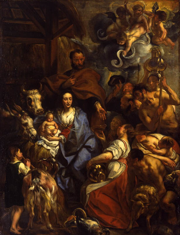 The Virgin Mary cloaked in blue, holding the baby Jesus with people around her