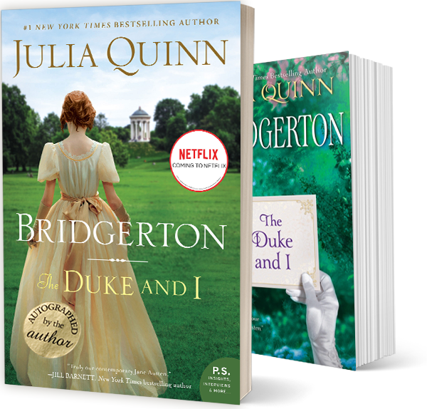 """The original book cover and the Bridgerton book cover of """"The Duke and I"""" by Julia Quinn"""
