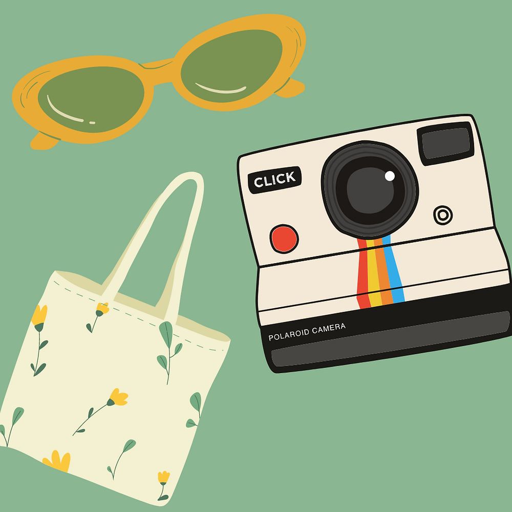 A green background with illustrations of sunglasses, a disposable camera, and a tote bag