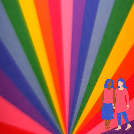 A rainbow background with two cartoon women holding hands in the foreground