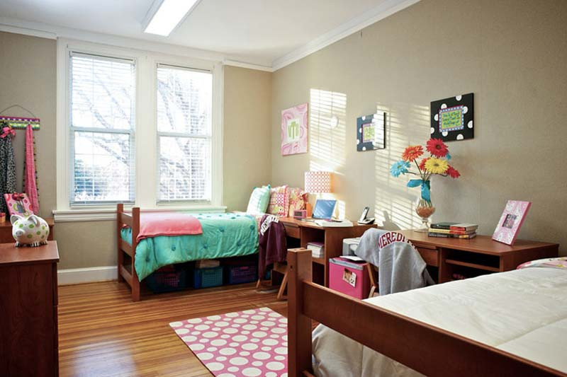 A residence hall room at Meredith College
