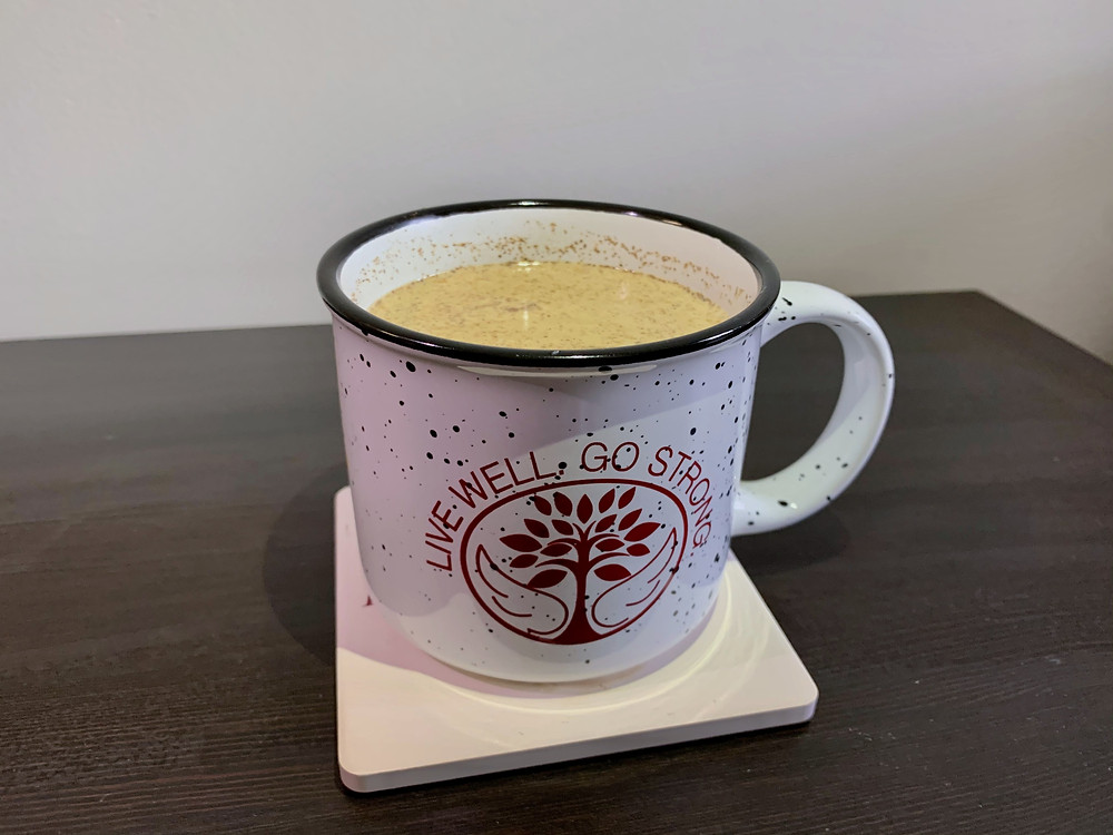 A Meredith mug with chai in it
