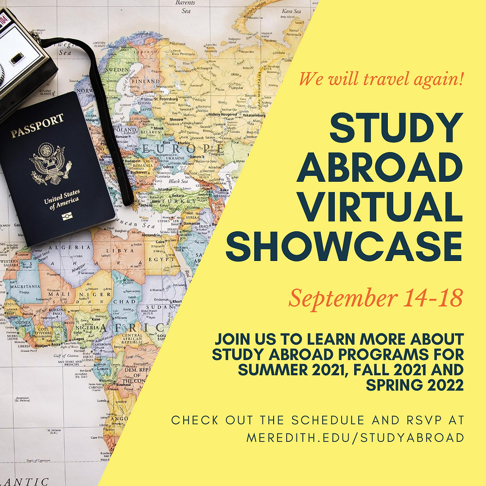 Flier describing the Study Abroad Virtual Showcase, Sept. 14-18
