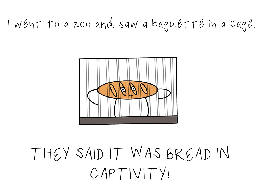 "A drawing of a baguette in cage with caption: ""I went to a zoo and saw a baguette in a cage. They said it was bread in captivity!"""