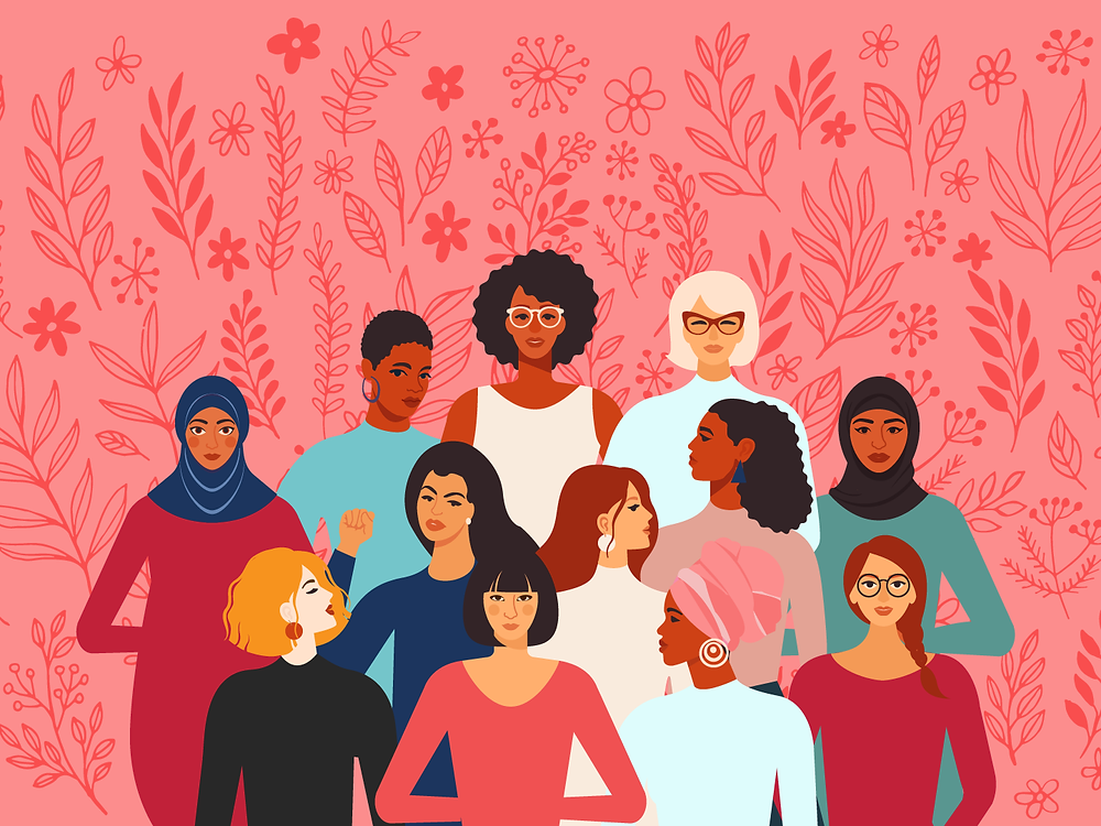 Various women of different ages and ethnicities standing in front of a pink background