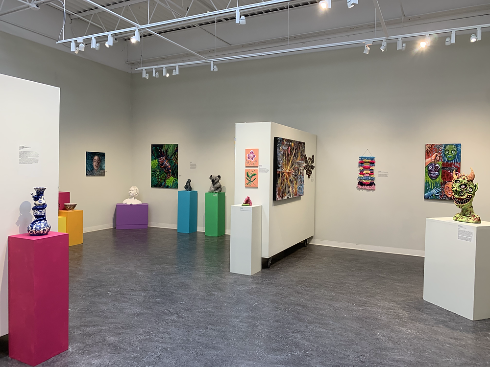A wide view of the senior art exhibit