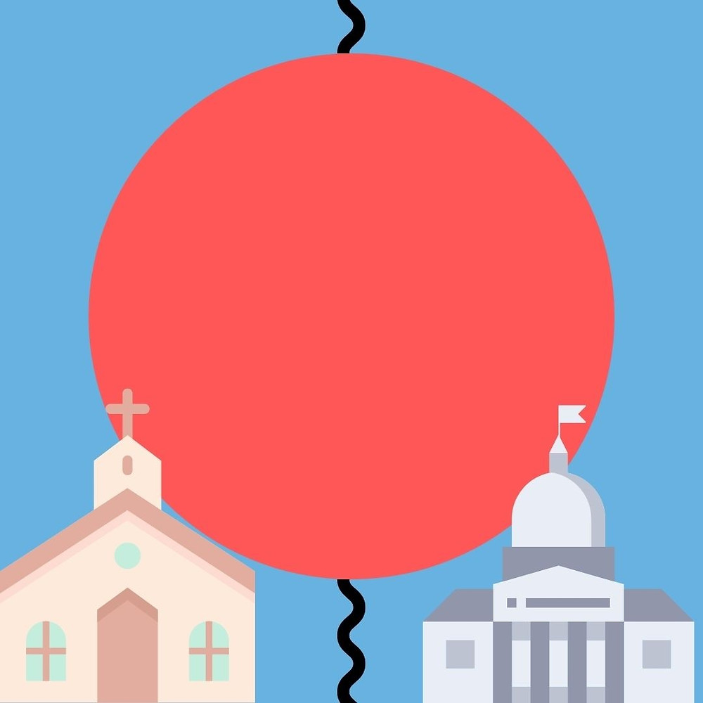 A graphic of a church on the left and the capitol building on the right. Between them is a black wiggly line that is covered by a large salmon colored circle