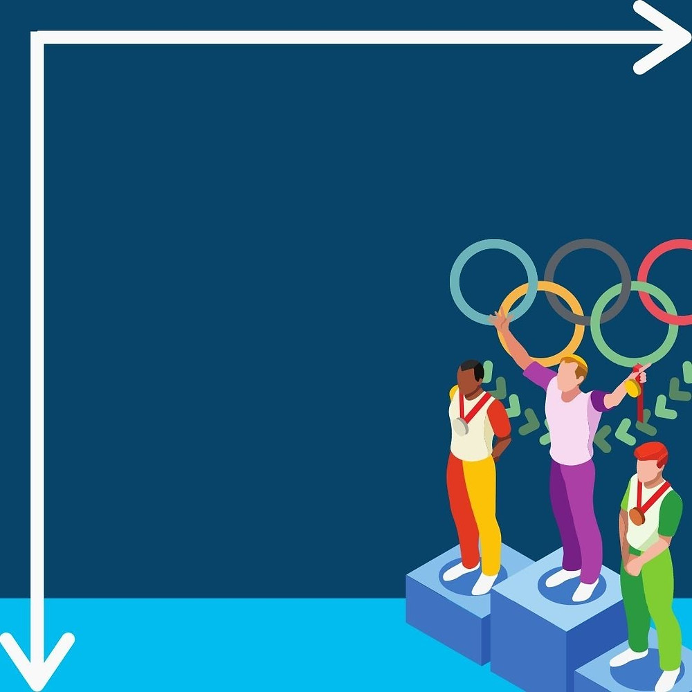 A blue background with three athletes on a podium