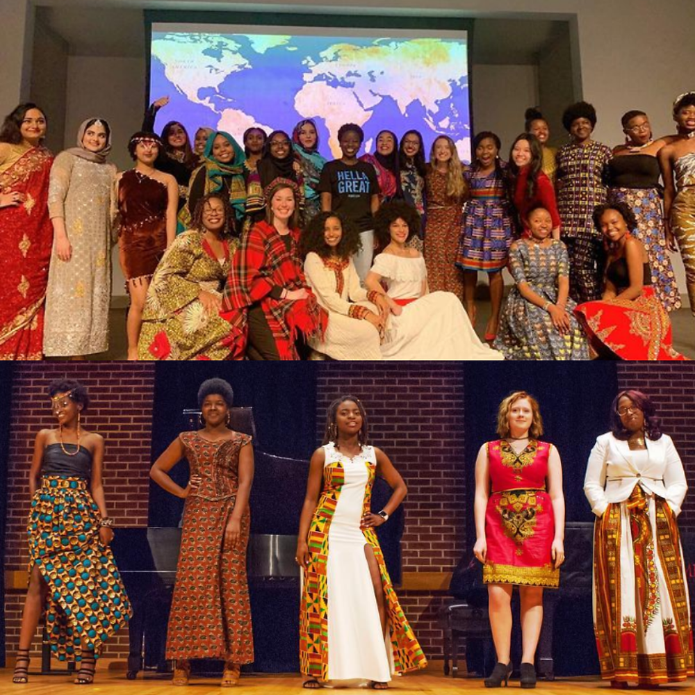 Two photos of people participating in an in-person MIA fashion show, wearing various cultural dress